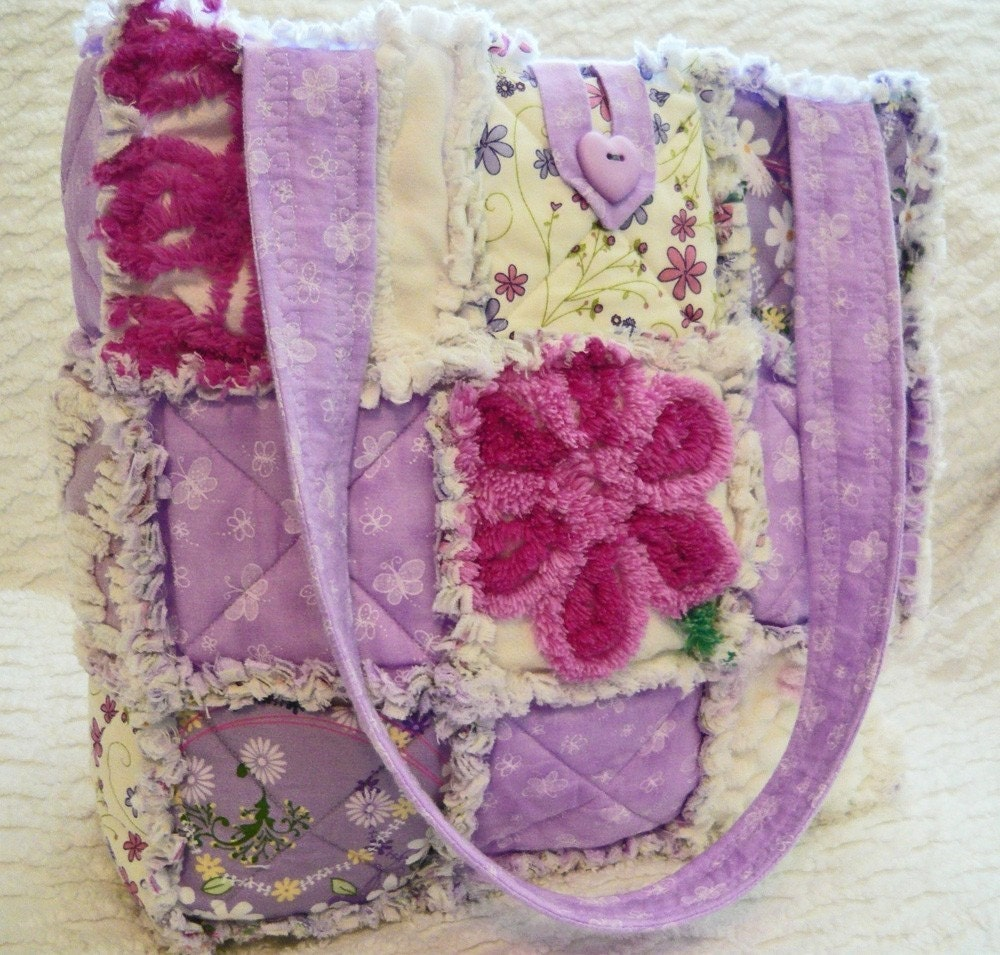 Purple Flower Vintage Chenille Rag Quilt Tote By
