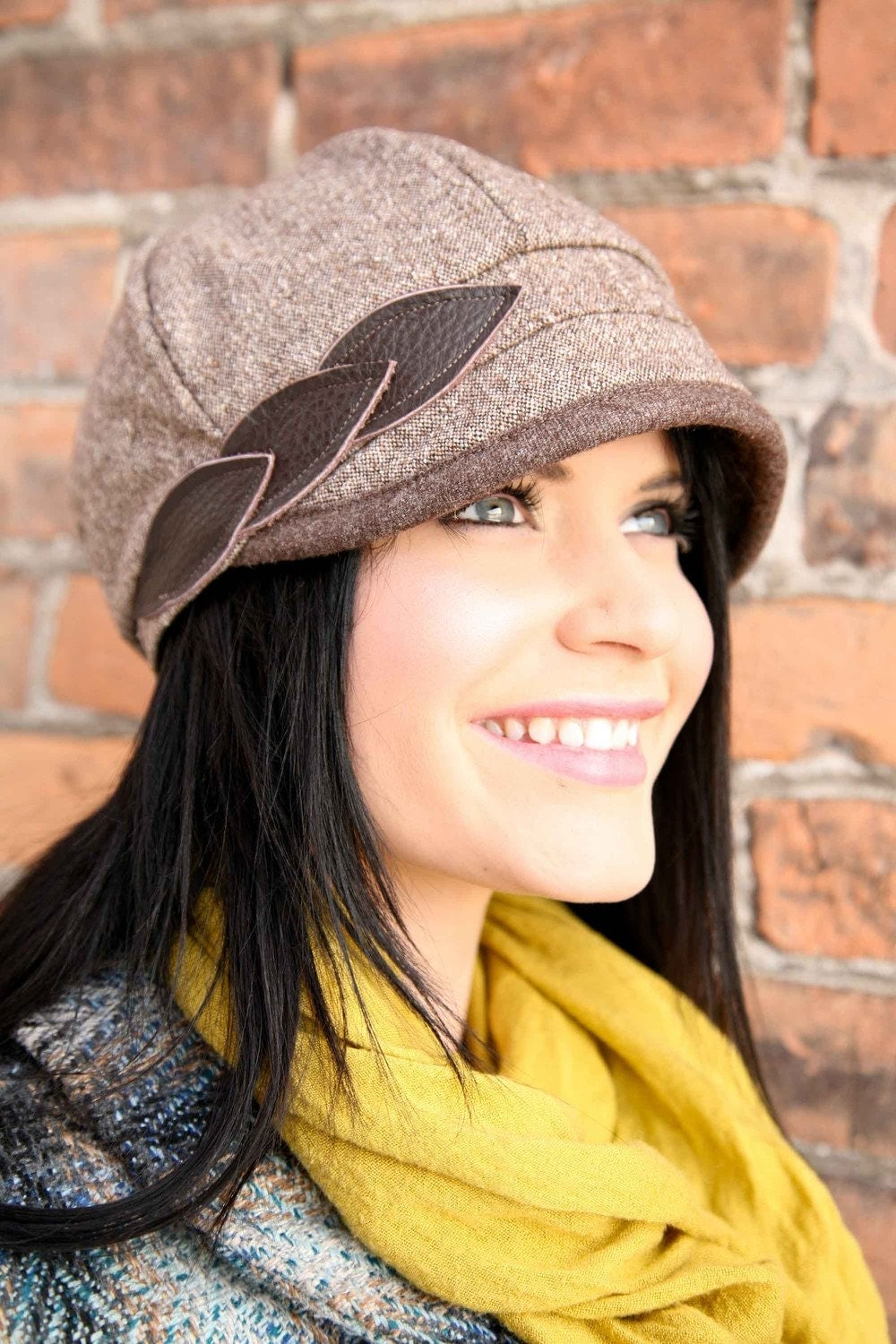 Petals Hat with bound brim- brown- size SMALL