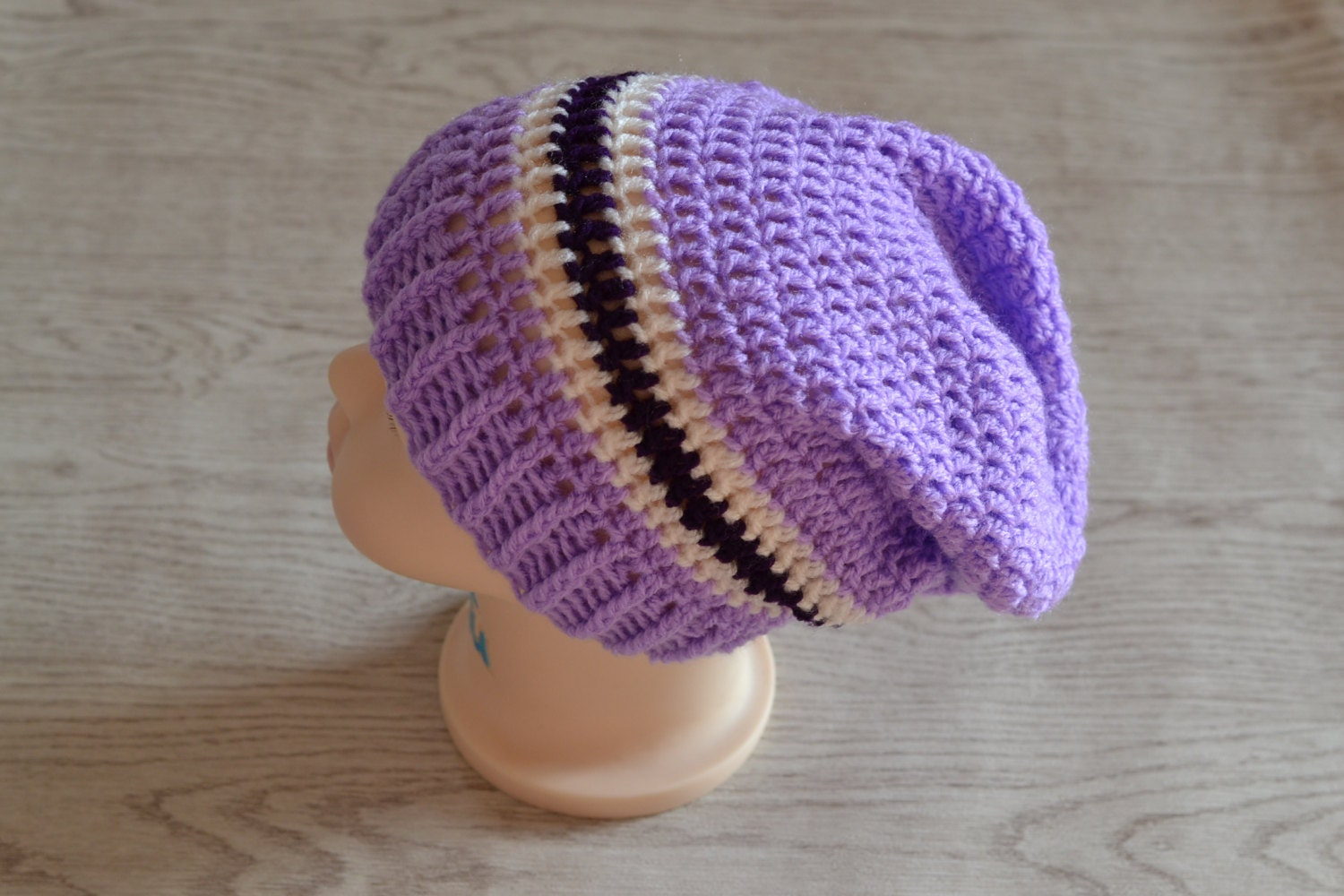 1 Year  2 Year Girls Lilac Purple and Cream Slouchy Beanie Hat