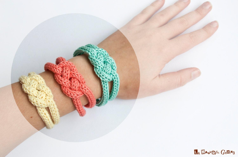 """Bracelet de tricotin tressé en coton - série """"Summer love"""""""