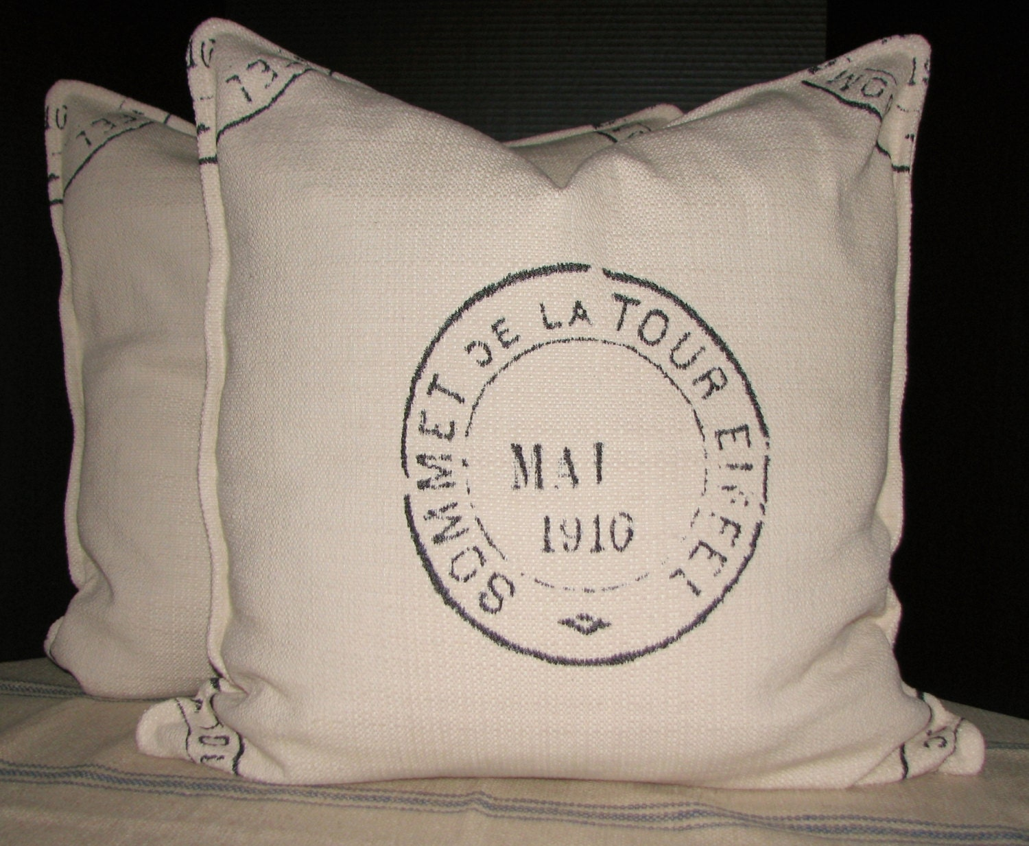 "Large French Country Floor Pillow-Grain Sack Look-25"" x 25"" - MaBrownMercantile"
