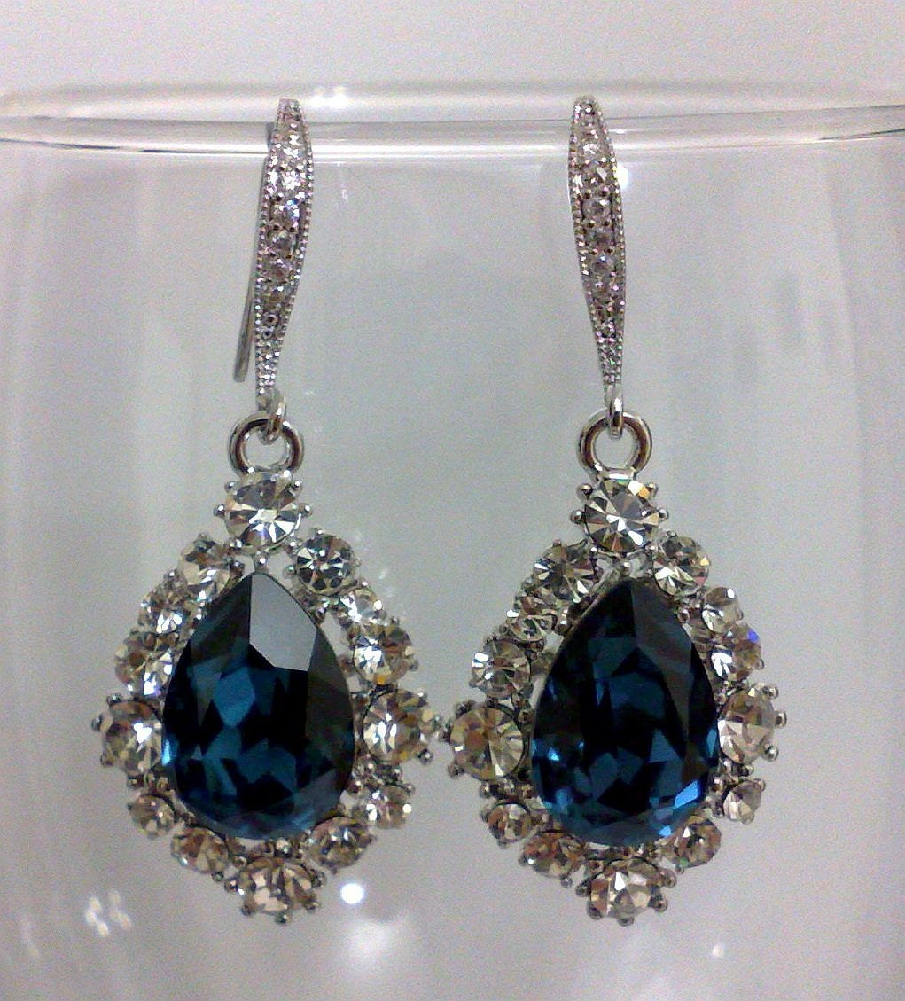 Something Blue Wedding: Something Blue Bridal Earrings Navy Blue Jewelry By YJCouture