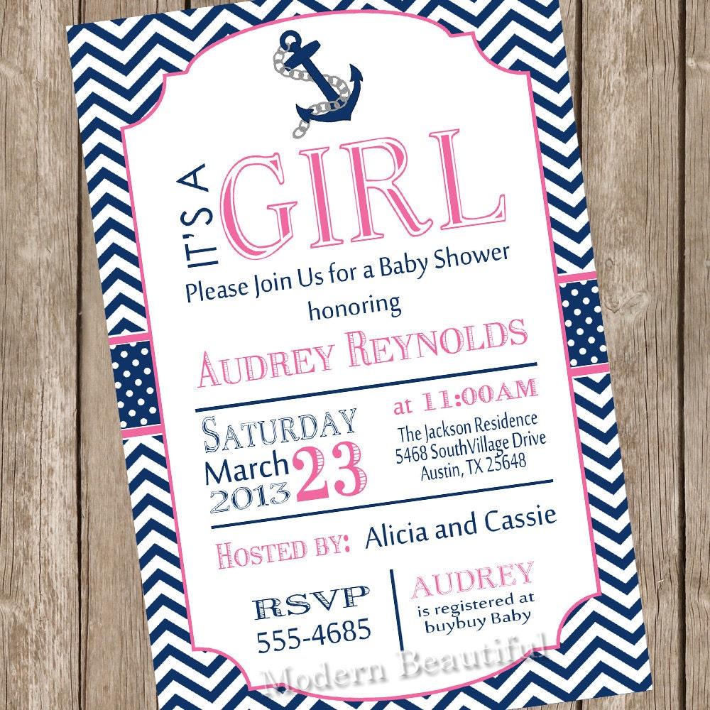 girl nautical baby shower invitation pink navy anchor nautical