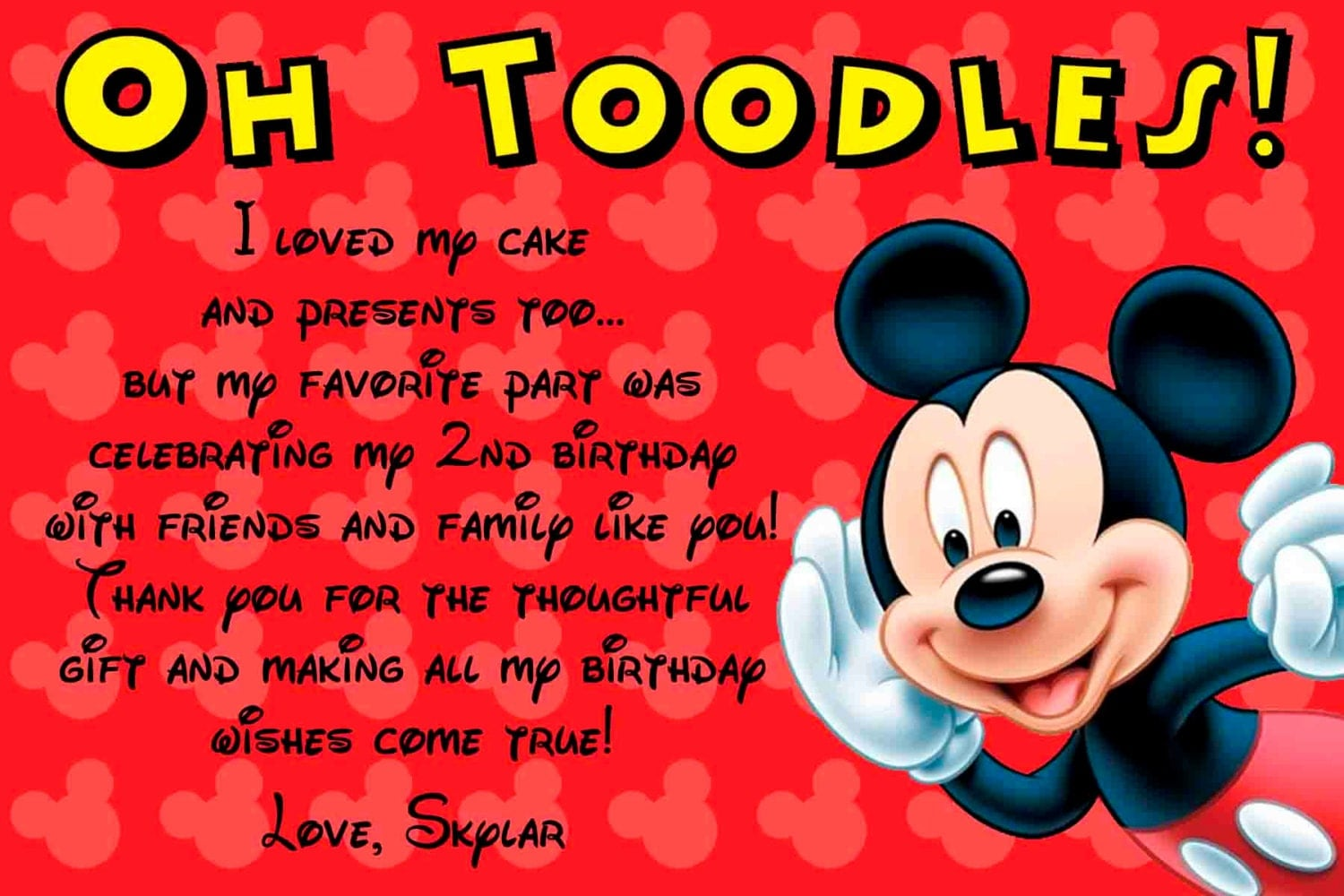 SALE Mickey Mouse Thank you card by SkyeCreation on Etsy