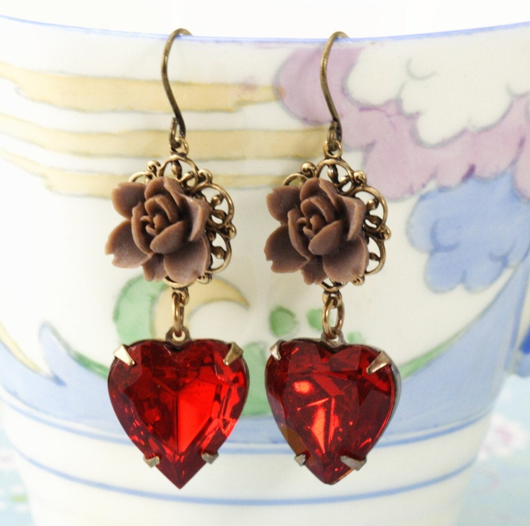 Chocolate Flower and Red Vintage Heart Jewel Earrings