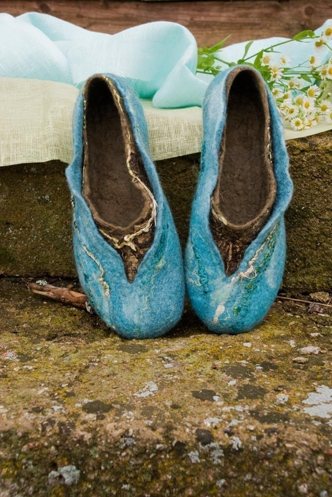 Felted slippers made of softest merino wool TURQUOISE 2