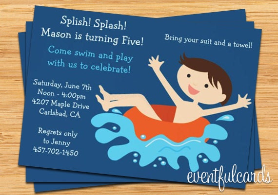 Pool Birthday Party Invitation with great invitation template