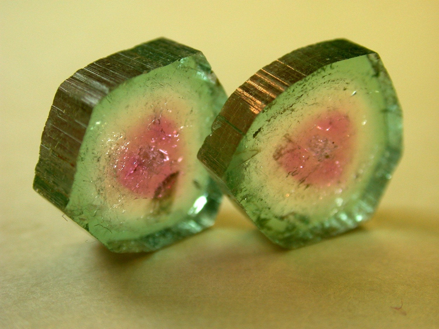 VINTAGE Watermelon Tourmaline Crystal Slices Pair 9.80 cts FG84