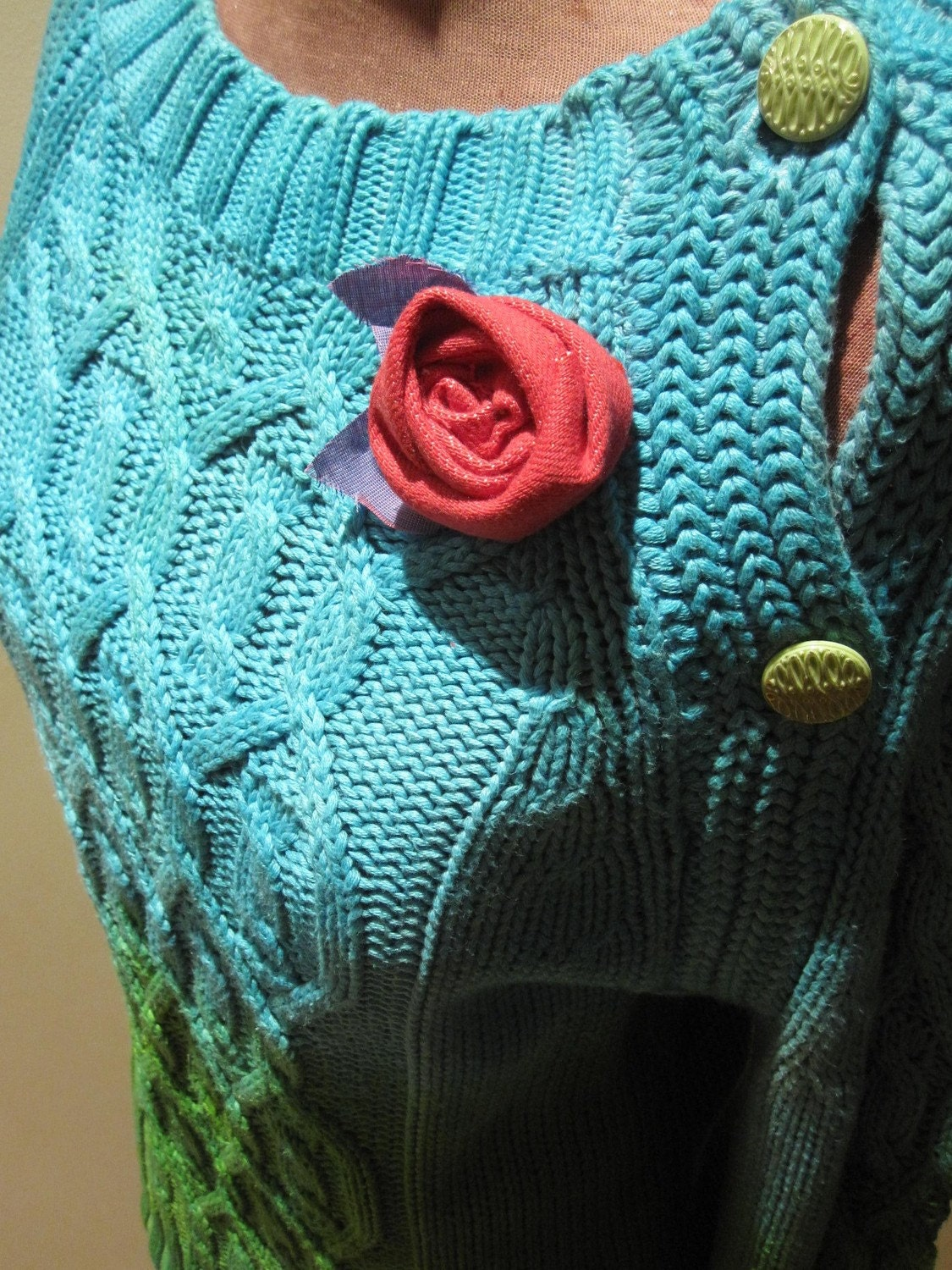 Dip  Dyed Cable Knit Upcycled Sweater - Eye Candy