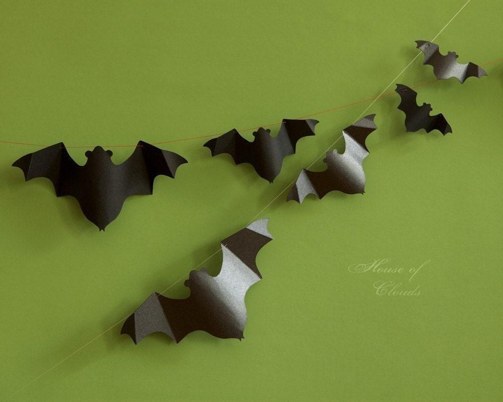 Halloween Bat Paper Garland KIT Pennant Bunting Banner Metallic Silver Black Card stock 3D