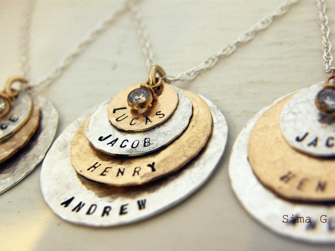 Are you still looking for Mother's Day gift - B E A U T I F U L  - Hand Stamped Jewelry - Personalized Your Charm - Two Tone Necklace - PICK your LETTERS on ( gold filled ) disc and ( sterling silver ) disc with CZ - 4 discs -Simag