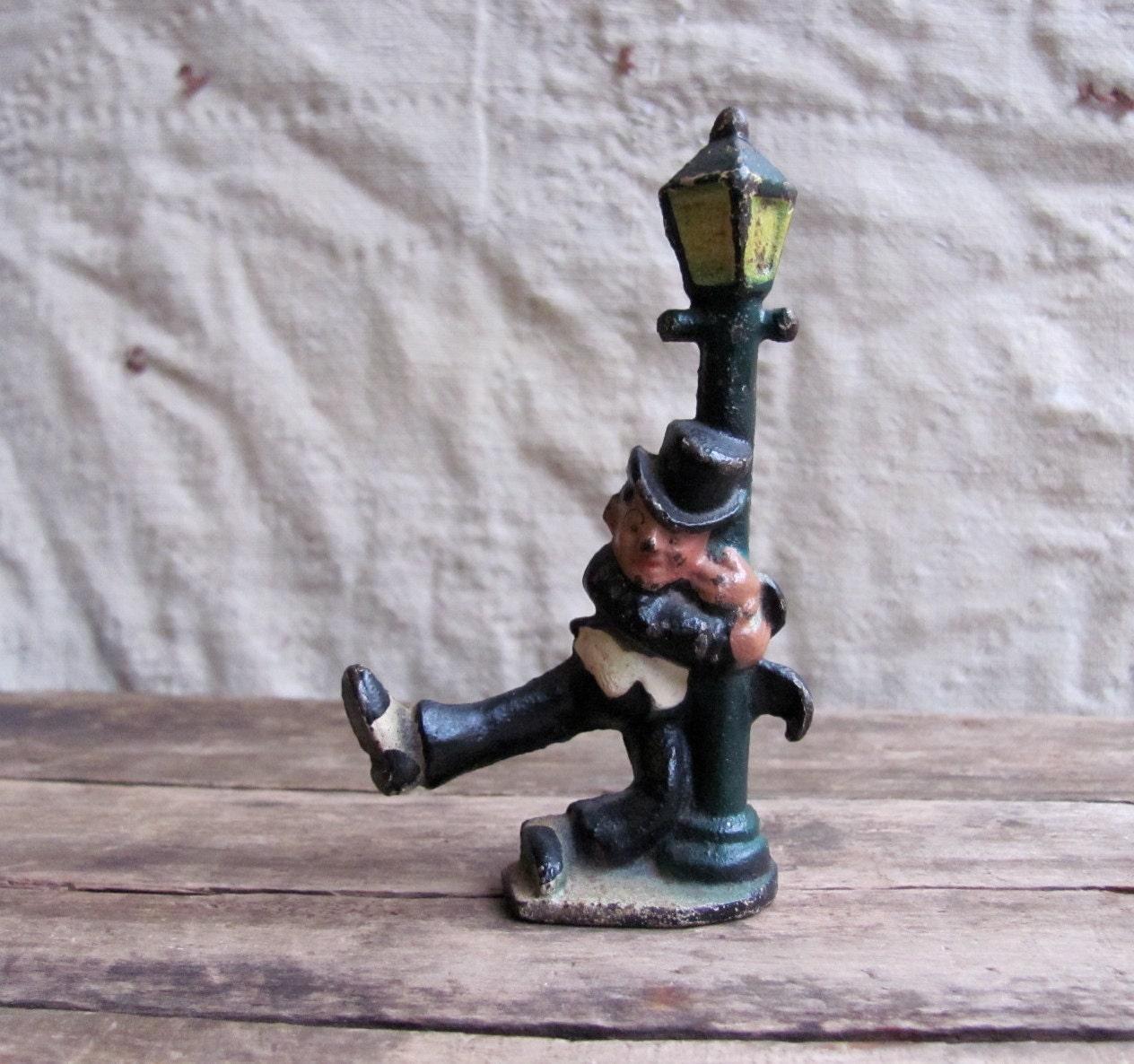 Vintage 1940s Cast Iron Figurine // Drunk Man By