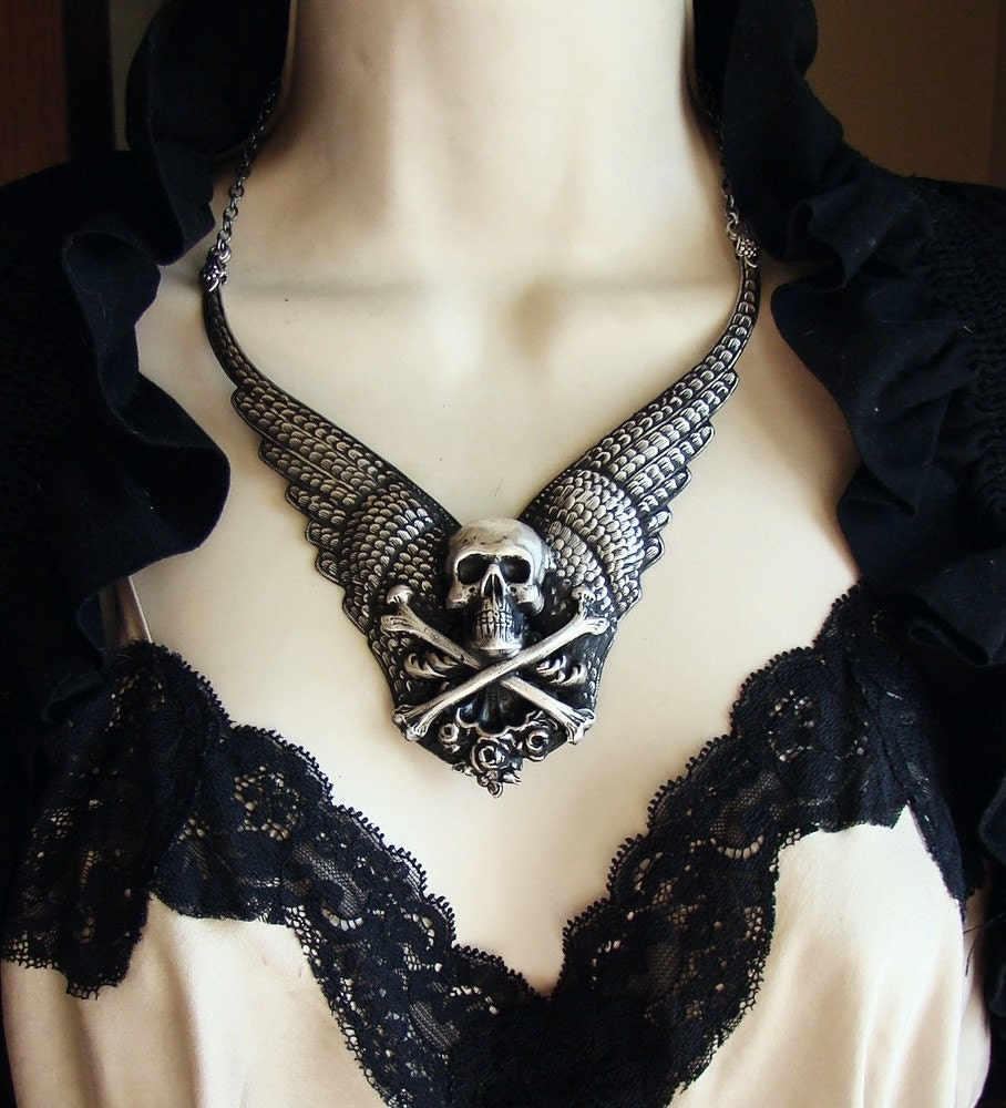 Regal Nemesis - Last One - Gunmetal Winged Skull Neo-Victorian Gothic Necklace