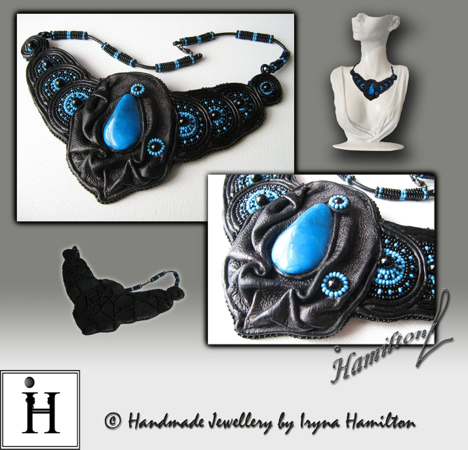 OOAK Leather Queen designer necklace by Iryna at ArtBeadwork from etsy.com