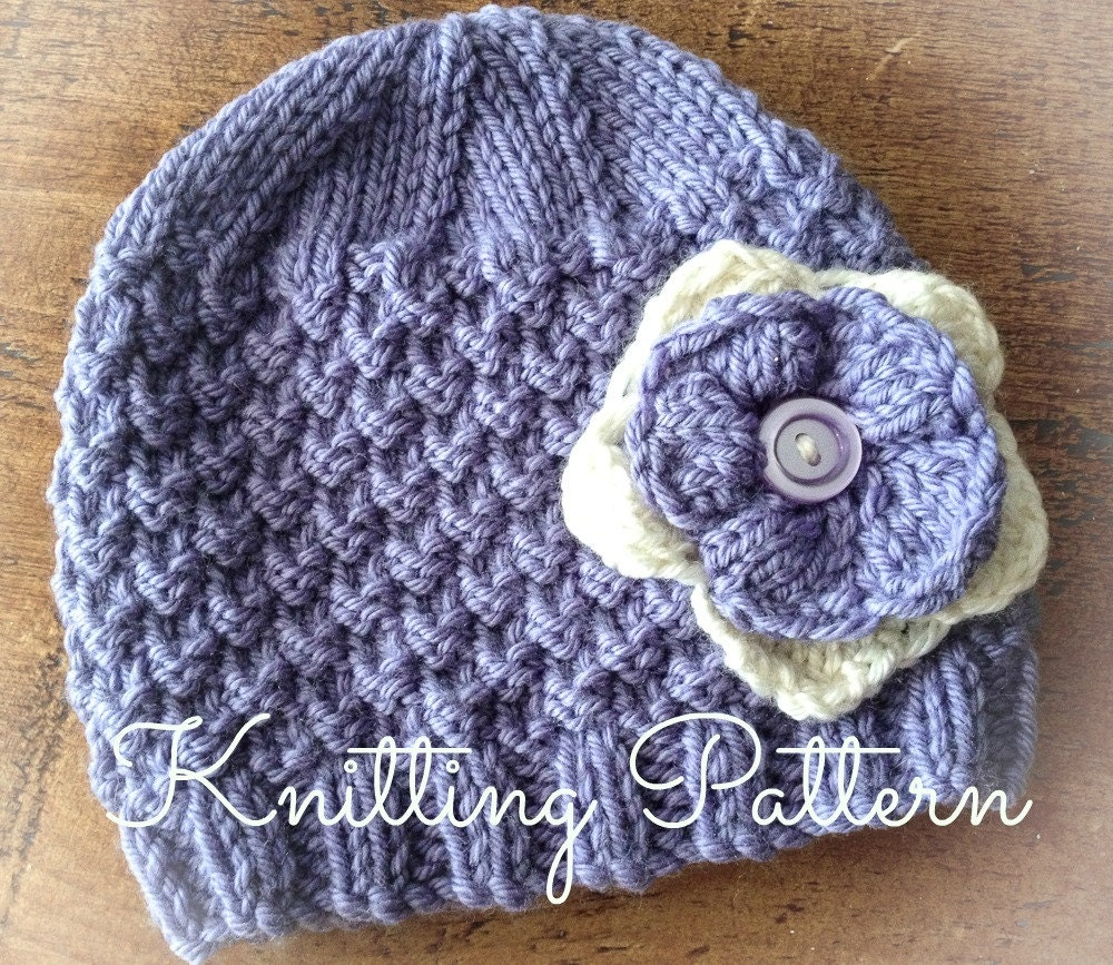 Bluebell Baby Beanie Hat Knitting Pattern - Aran weight yarn - Instant Download