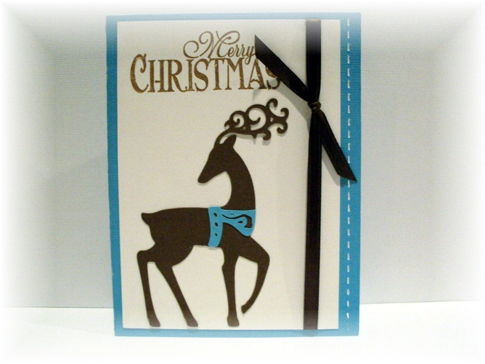 Whimisical Christmas Reindeer dressed in turquoise Blank Greeting CARD