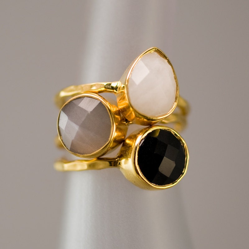 gemstone ring stacking rings black onyx ring grey by delezhen