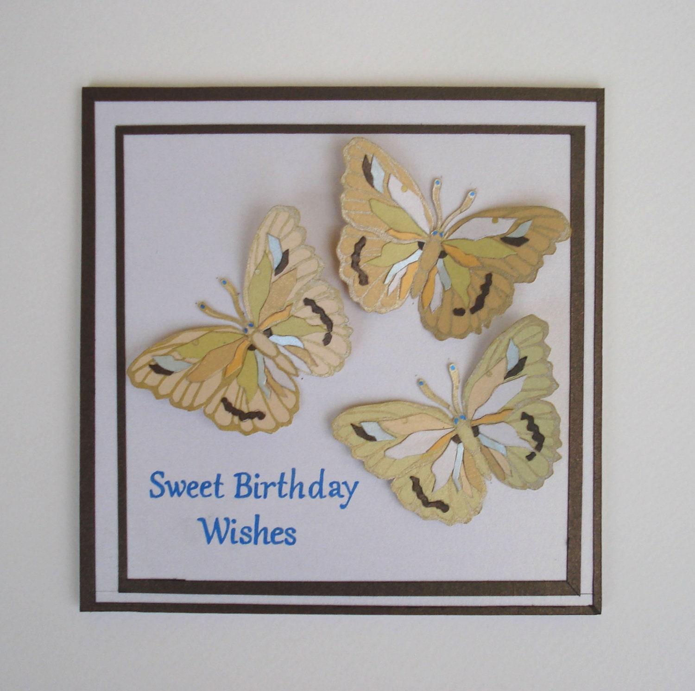 Butterflies Birthday Card Unique Handmade By TipTopArtShop