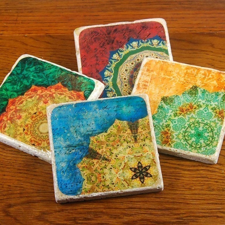 Rich  Colors - vintage inspired, kaleidoscope stone drink coaster set