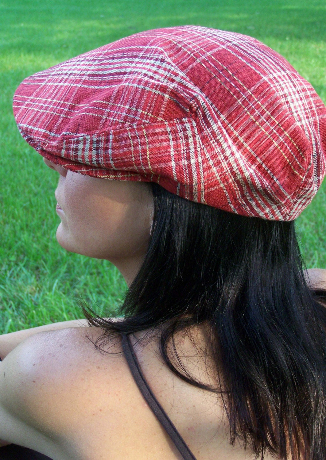 linen ivy cap. Ivy Cap -- Red Plaid