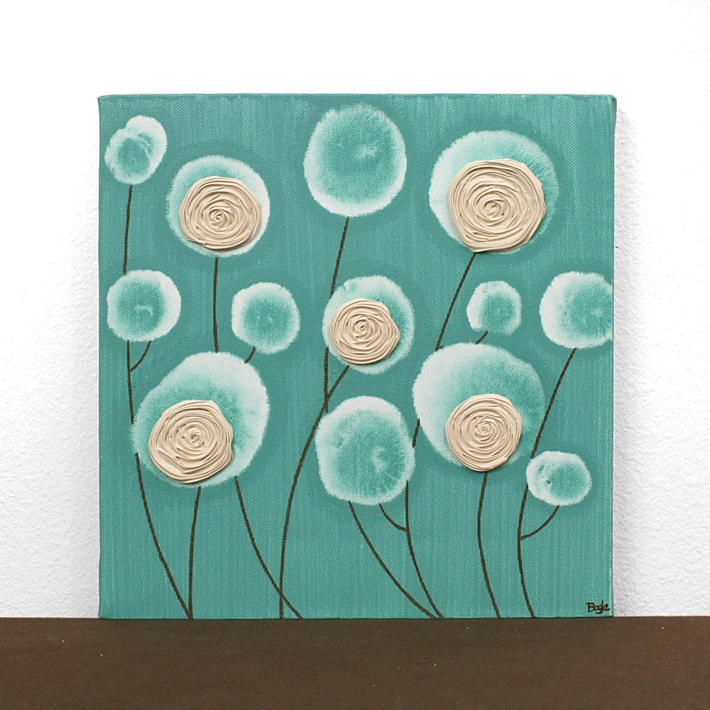 teal and brown decor textured flower painting modern by amborela. Black Bedroom Furniture Sets. Home Design Ideas