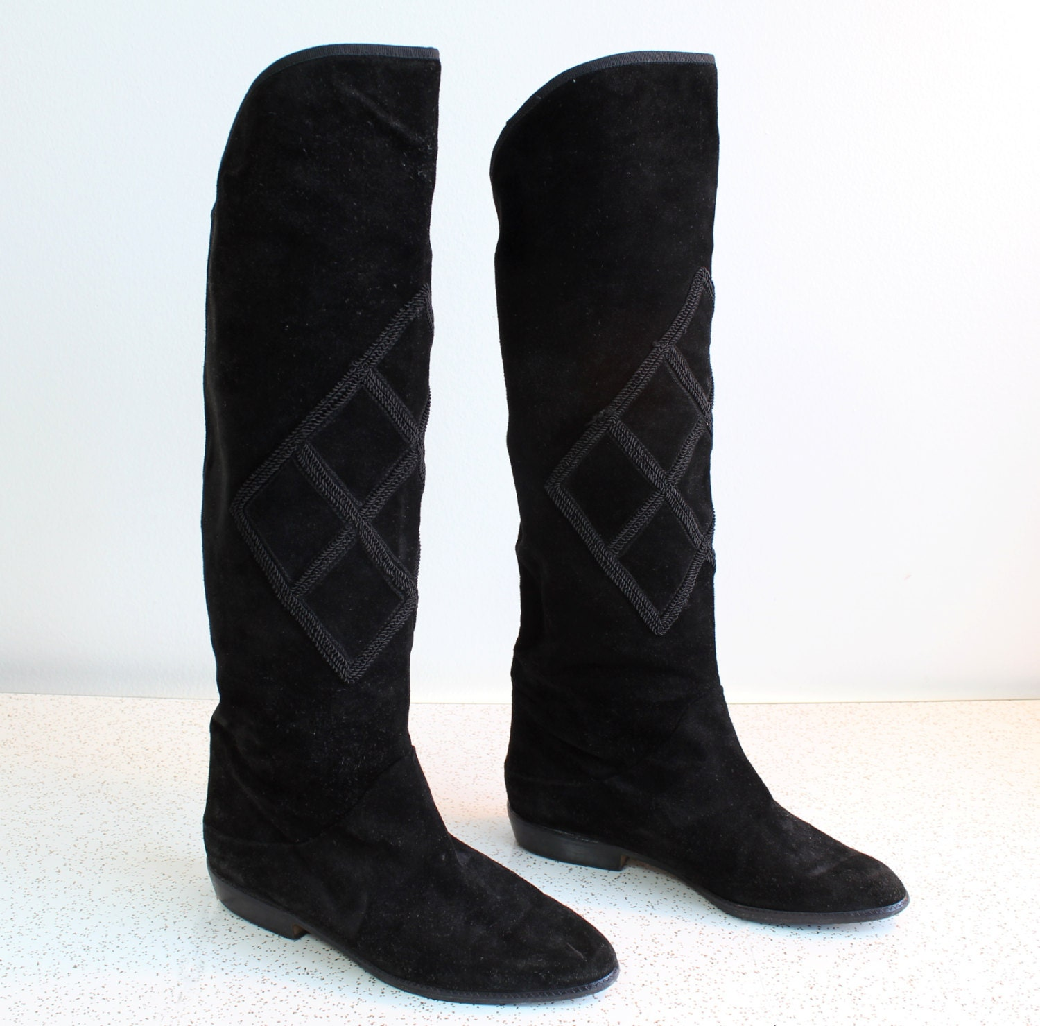 items similar to sz 5 suede knee high slim boots on etsy