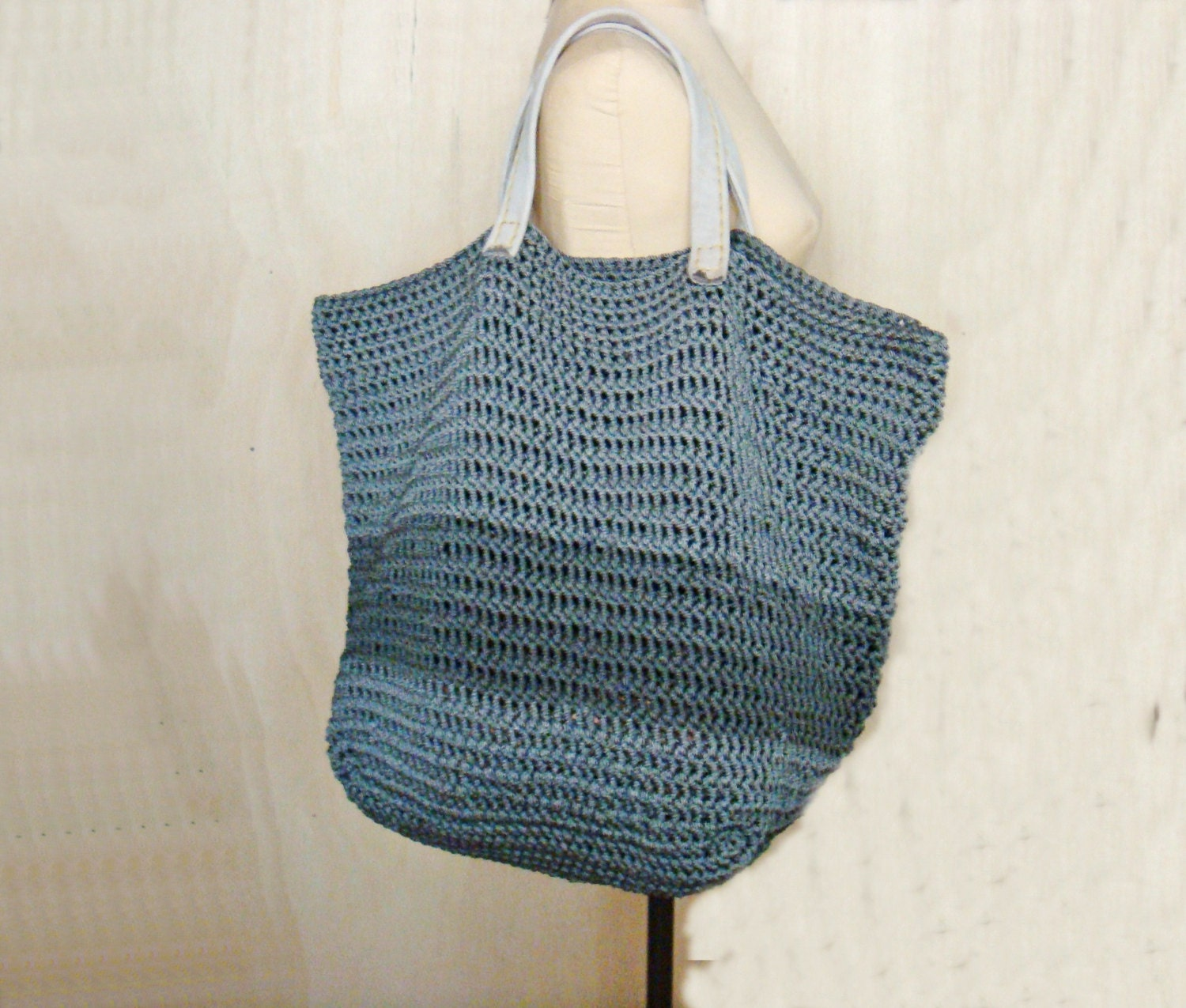 Leather Crochet Bag : PDF Crochet PATTERN Large Tote Bag with Leather by PATTERNSbyFAIMA