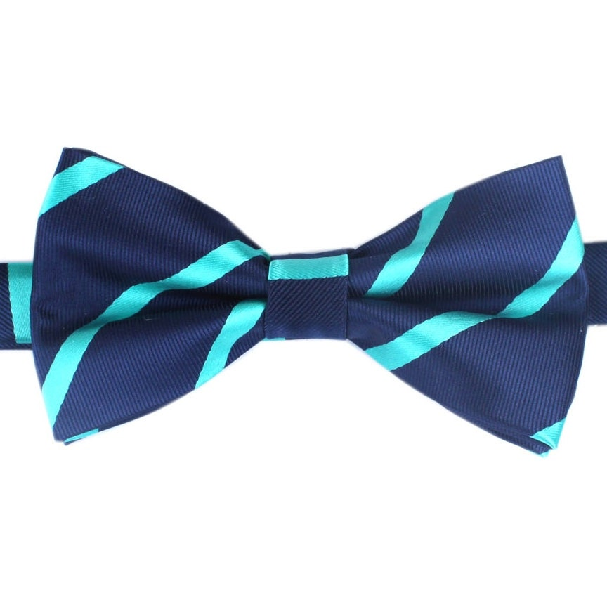 s bow tie pre navy blue teal diagonal stripes by otaa