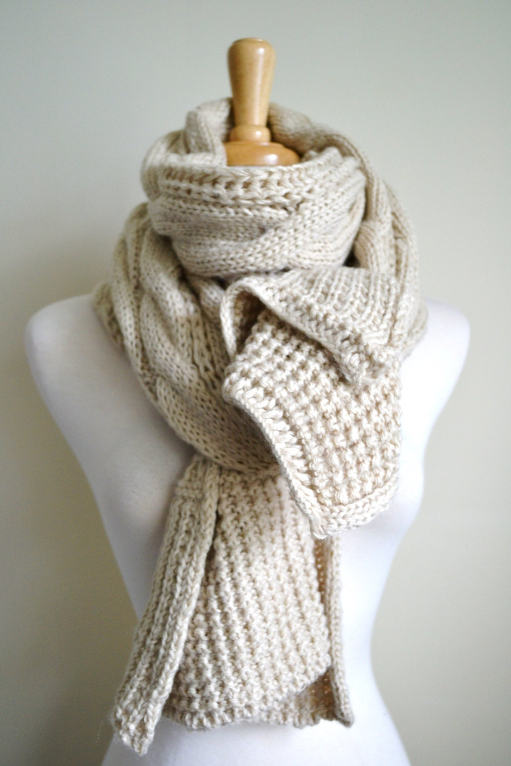 OATMEAL IVORY Creme Off White Chunky Knit Cable Pattern Long Scarf Shawl Wrap...