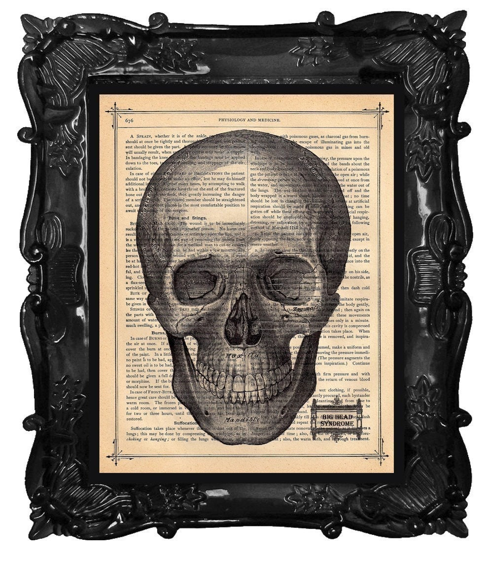 SKULL PRINT BIG HEAD SYNDROME on a Antique 1883 Book Page etsy handmade halloween decor holiday