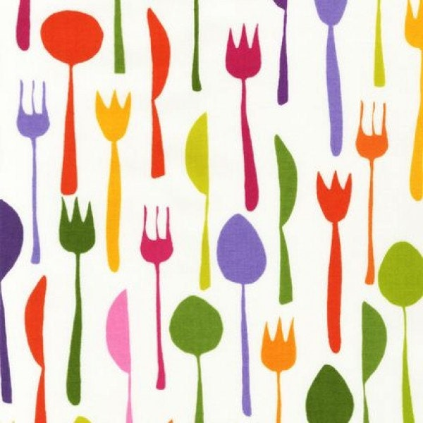 One (1) Yard of Metro Cafe Forks, Spoons and Knives Magenta, Purple, Pink and Green on White Bermuda