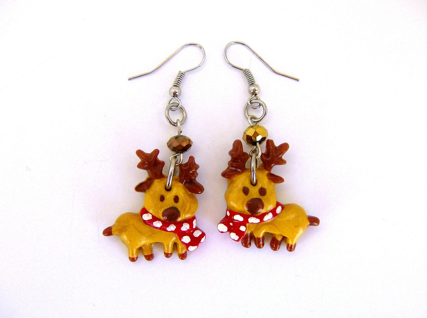 Reindeer Rudolph Earrings - Santa Claus - Christmas Earrings - Polymer Clay earrings - AngelasSweetGarden