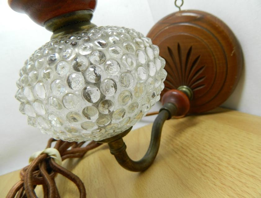 antique hobnail glass wall sconce lamp fabric cord by orwadesigns. Black Bedroom Furniture Sets. Home Design Ideas
