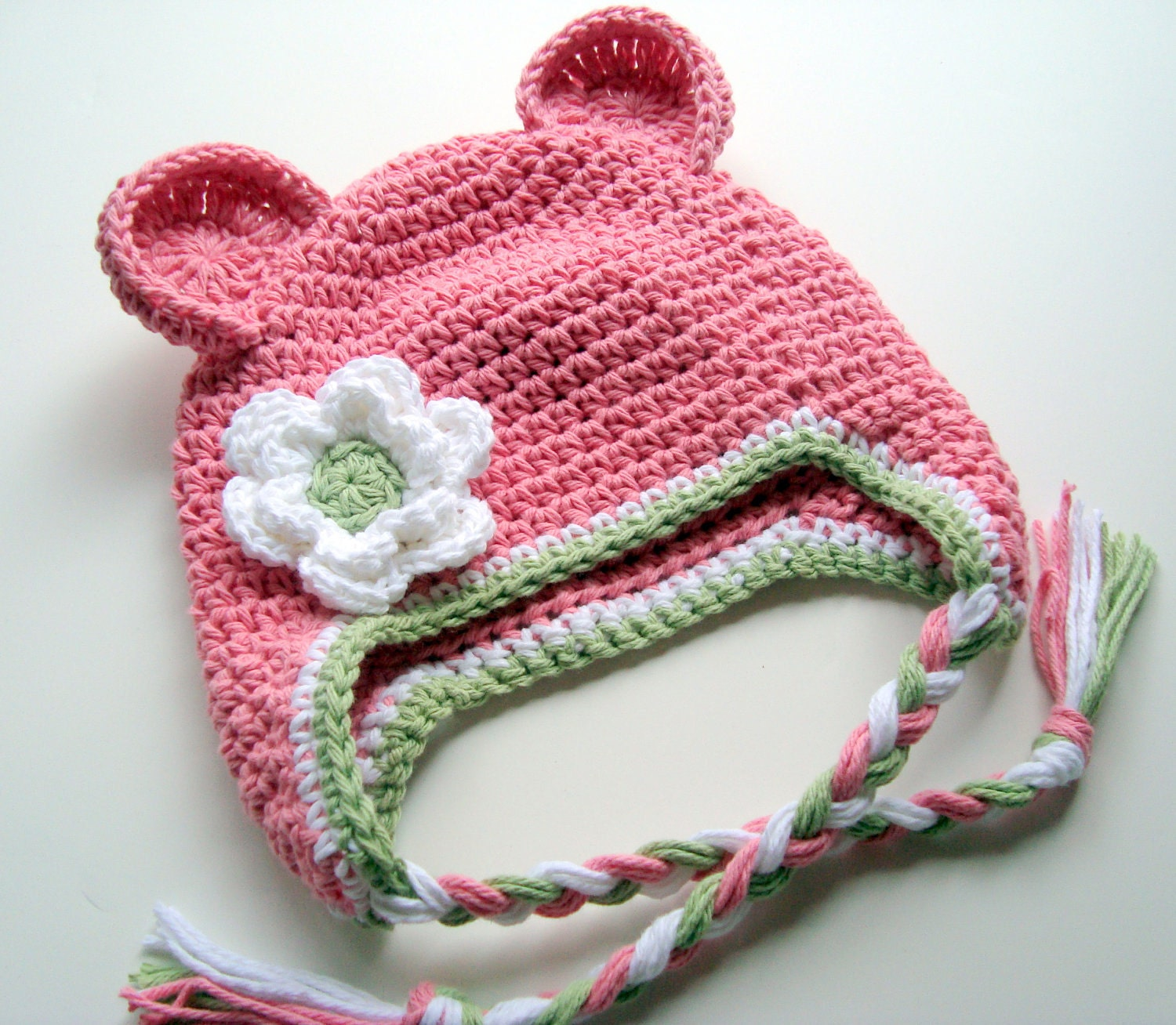 Girls Cotton Crochet Ear Flap Beanie Hat with Ears and Ties-Custom Made in Your Color Choices-MADE TO ORDER