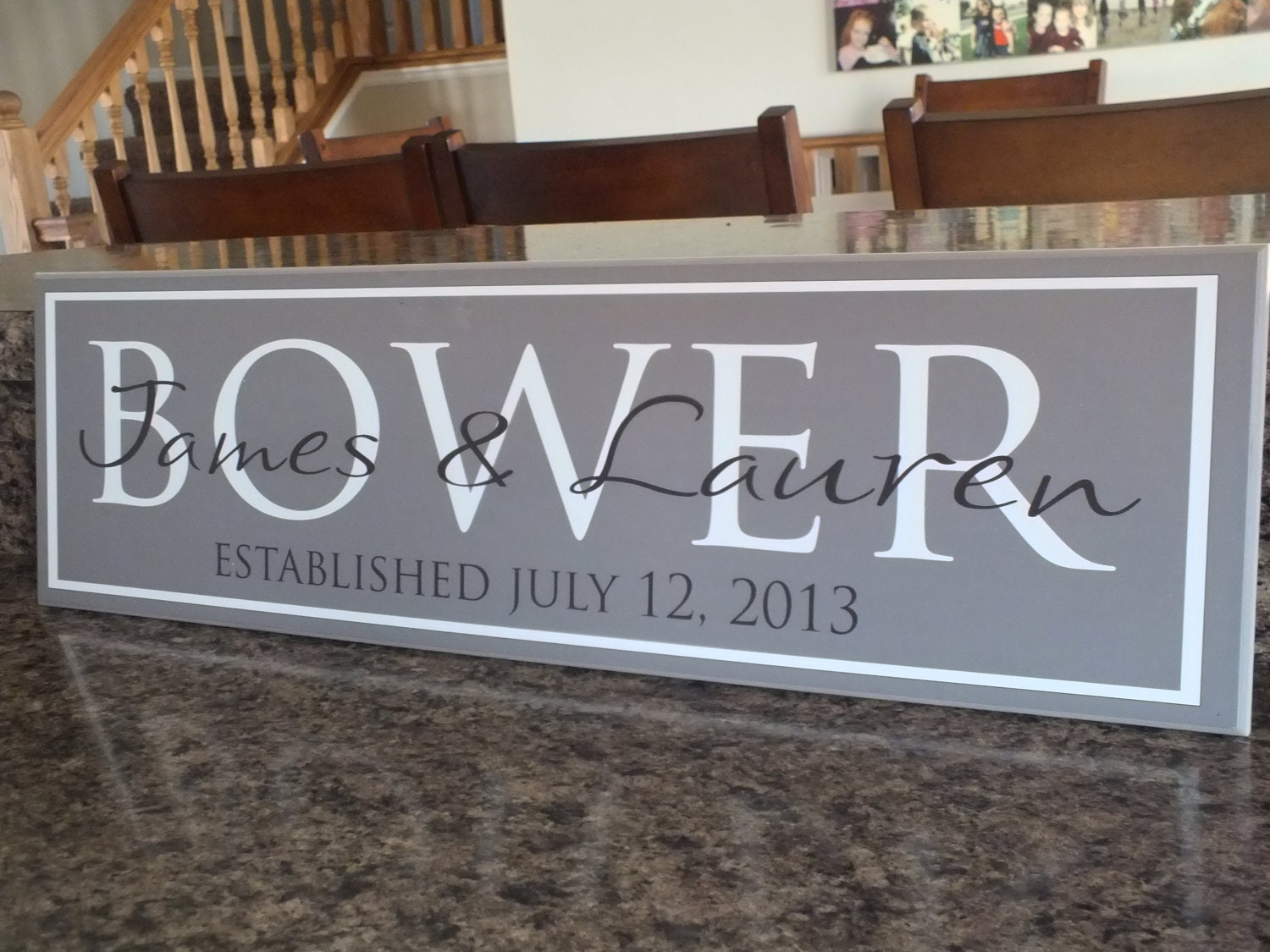 "Custom Personalized Family Established Sign Wedding Sign 7""x24"" - AmericanWoodcrafts"