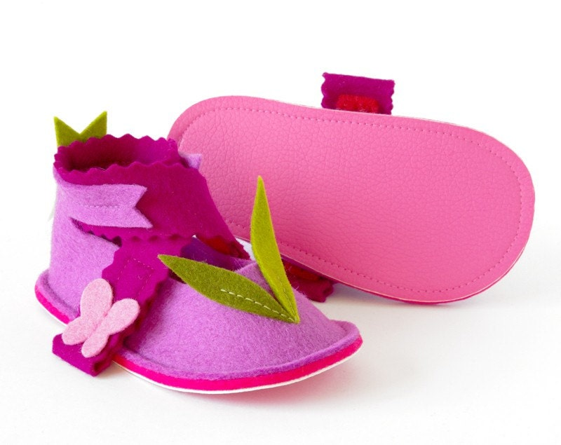 Toddler girl mary jane shoes LaLa Rose Butterflies - soft sole pink toddler booties with non slip soles in pure wool felt