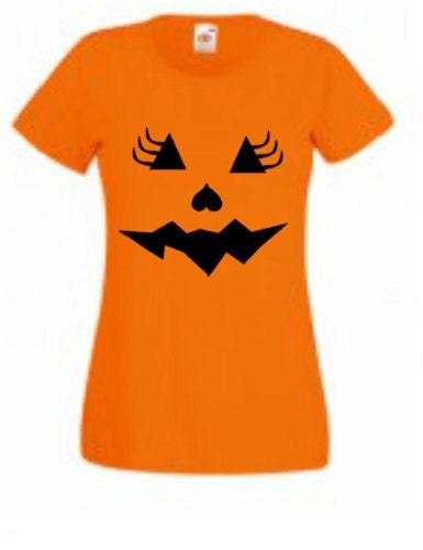 Halloween pumpkin face jack o lantern print girly eyelashes ladies tshirt