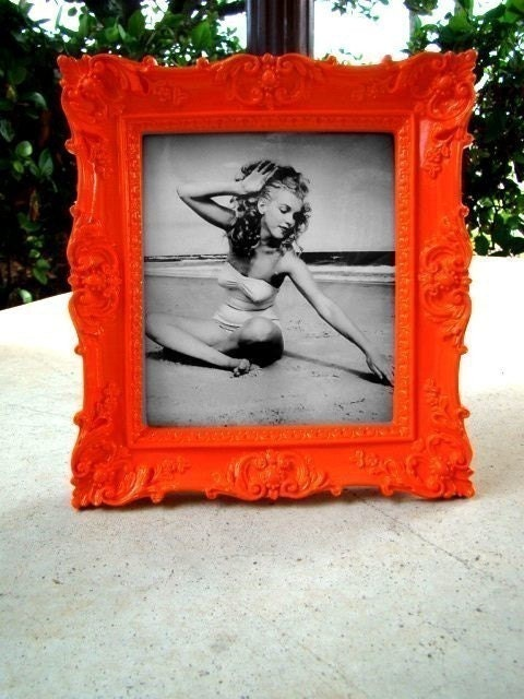 Bright Orange Ornate Vintage Style Picture Frame 5X5.5