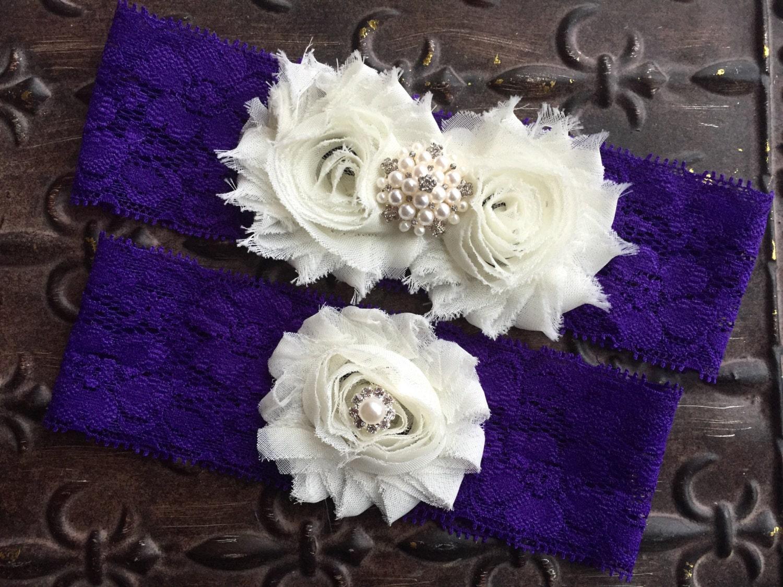 Purple garter belt wedding