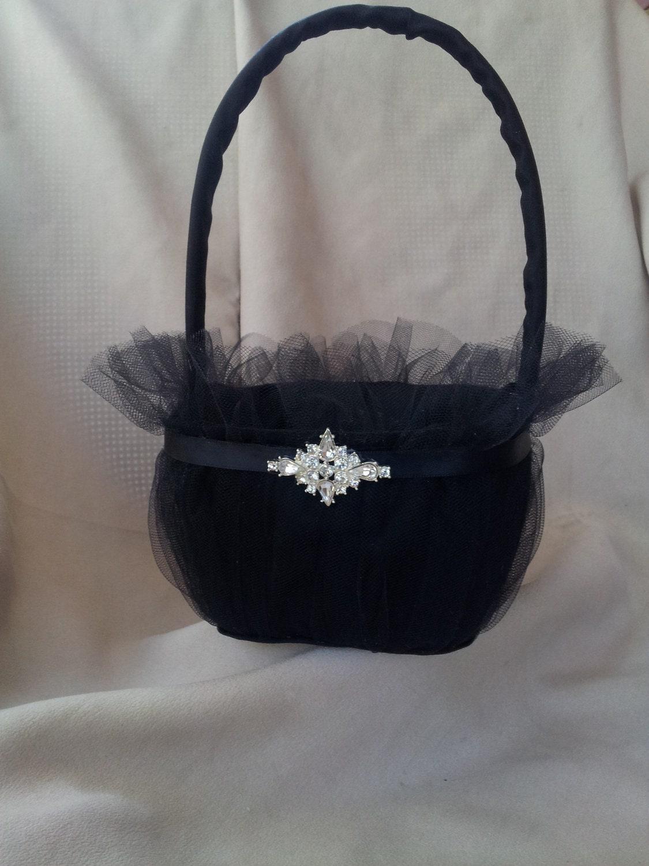 Flower Girl Baskets Black : Elegant black flower girl basket rhinestone accented by