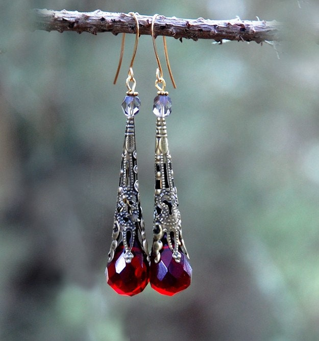 Alice in Wonderland - Red Quartz Earrings