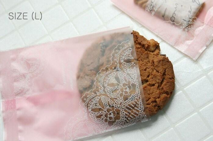 Pink Doily Printing - Cello Polypropylene Bags - L size (10pcs)