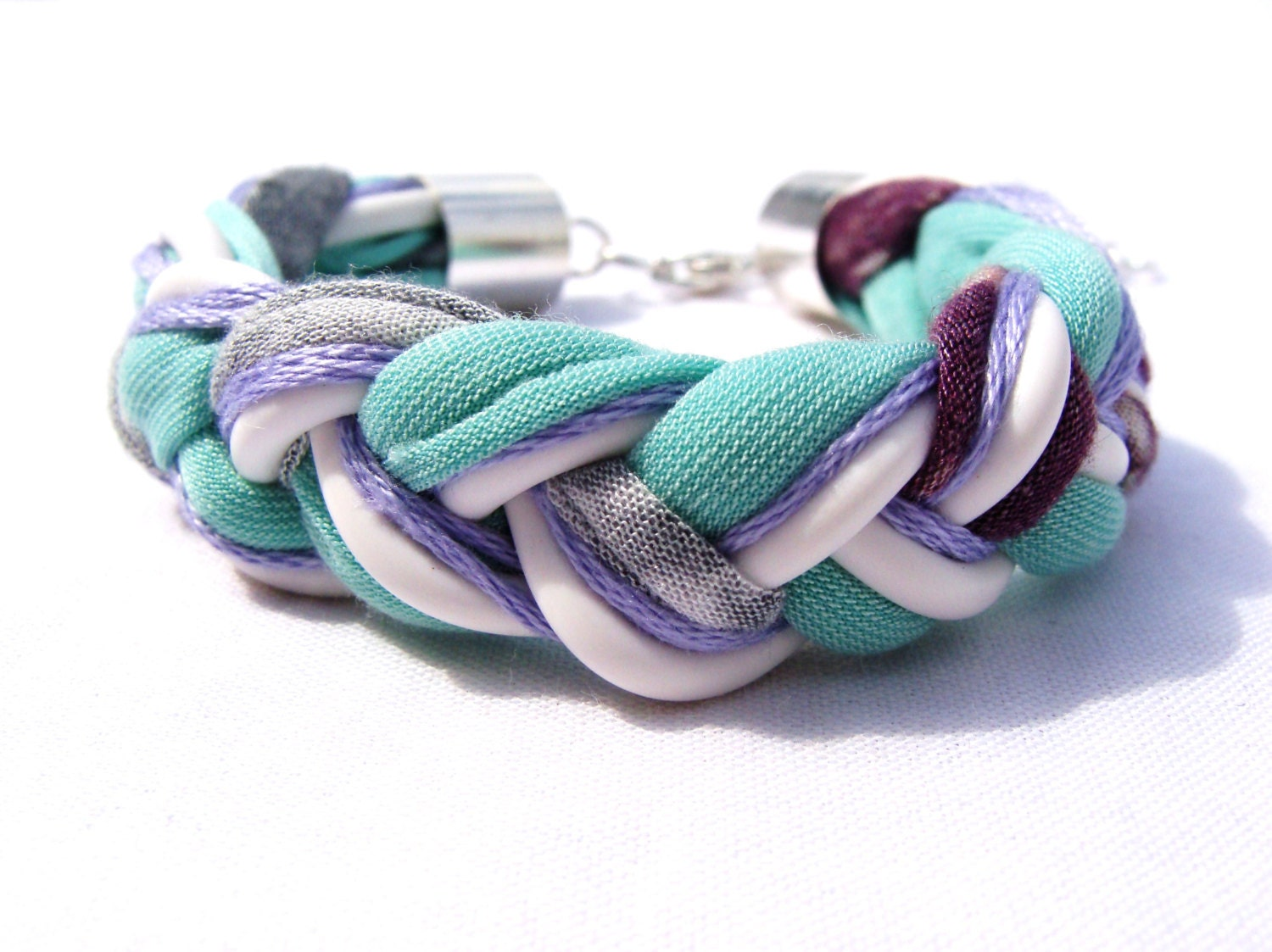 Cotton braided mint white grey and violet bracelet - Farfels