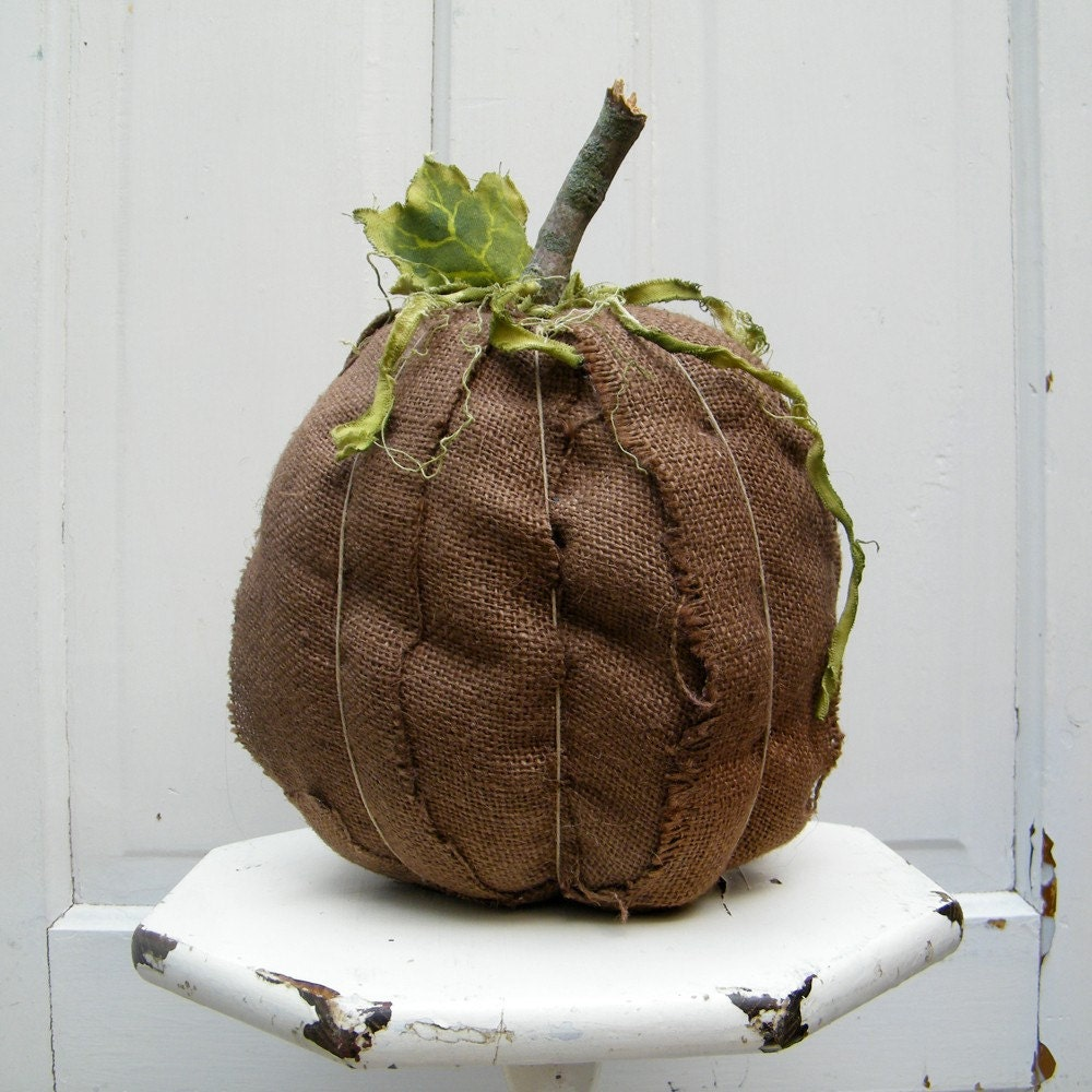 Rich Chocolate Brown Burlap Pumpkin Large Ready to Ship