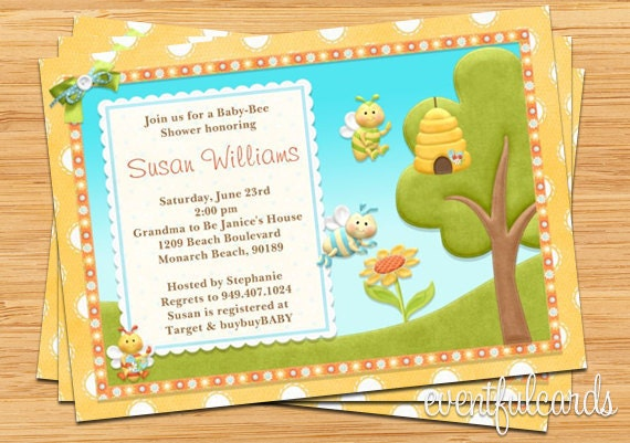 bee baby shower invitation 5x7 printable by eventfulcards on etsy
