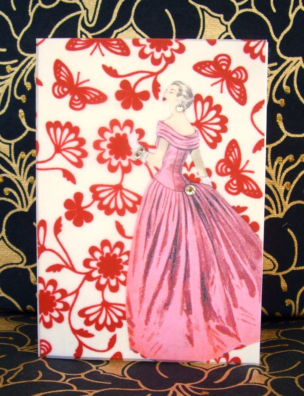 Vivien Card / Vintage Printed Collection / 50s Glamour Girl / Handmade Greeting Card