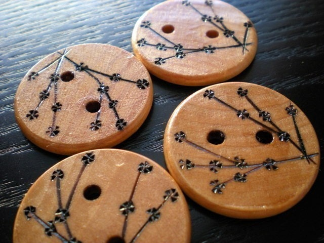 Large Cherry Blossom Wooden Buttons by LiDDesignsSupplies on Etsy from etsy.com