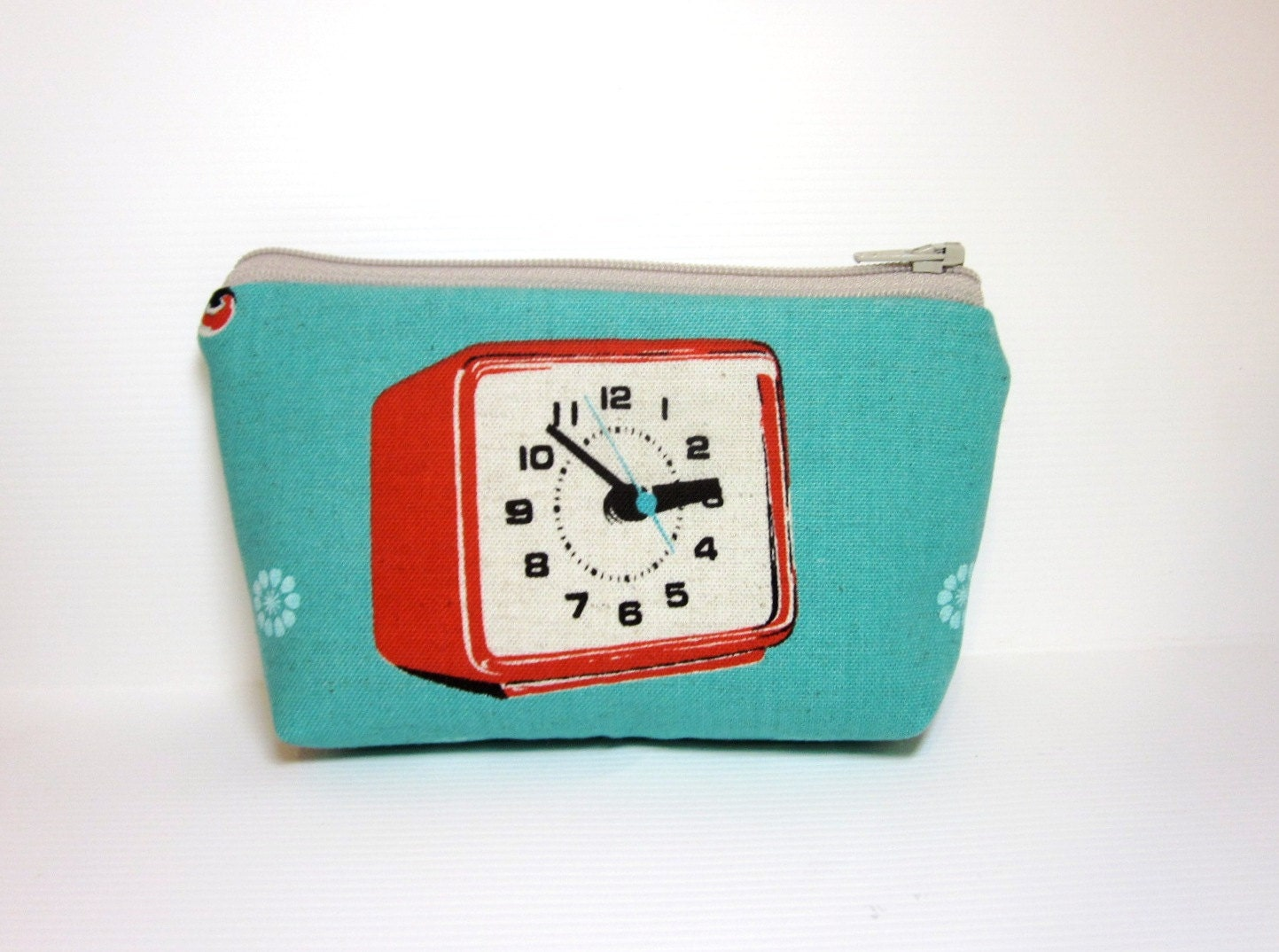 Small Zipper Pouch Small Wallet Small Cosmetic Pouch Retro Alarm Clock - handjstarcreations