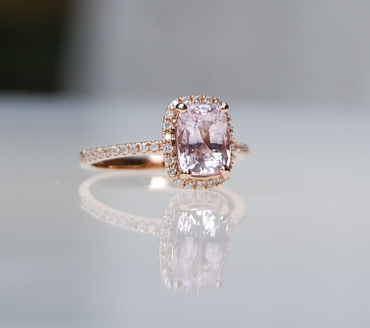 1.8ct Cushion ice  peach champagne sapphire in 14k rose gold diamond ring