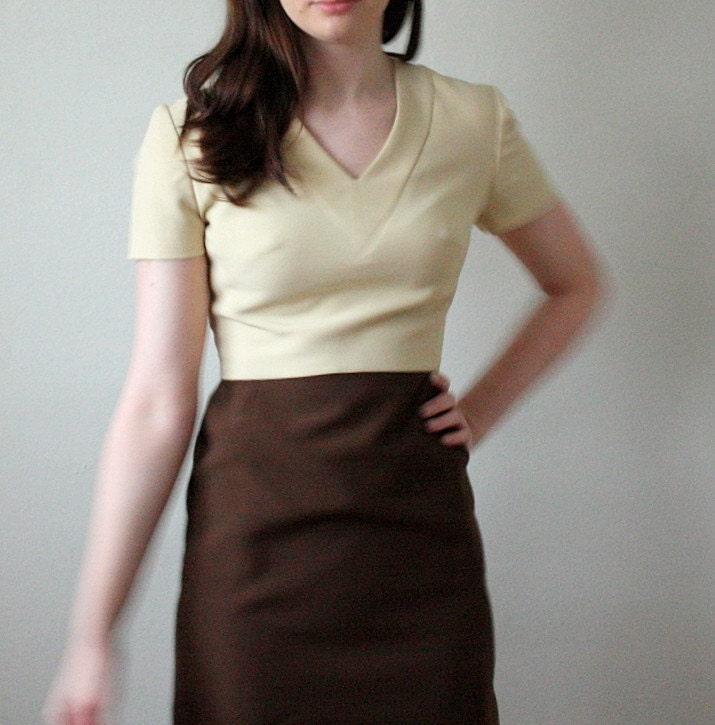 vintage 1960's cocoa and cream party dress